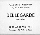Exposition  Claude Bellegarde Galerie Arnaud, Paris 1954
